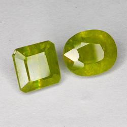 5.40ct Pair Green Sapphire mix cut 8.2x6.8mm