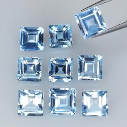 12.55ct Blue Topaz princess cut 6.2x6.2mm 9pc
