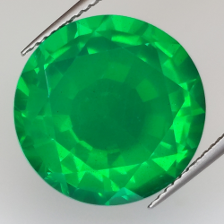 13.52ct Synthetic Emerald with Doublet Quartz round cut 15.9x15.9mm