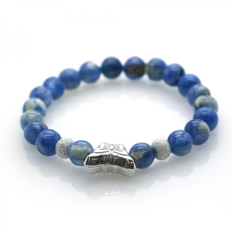 Cianite & 925 Sterling Silver Butterfly Bracelet