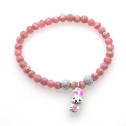 Rhodochrosite & 925 Sterling Silver Bunny Bracelet