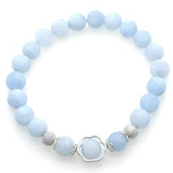 Frost Aquamarine & 925 Sterling Silver Flower Bracelet
