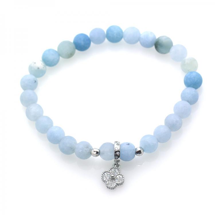 Frost Aquamarine & 925 Sterling Silver Flower Pendant Bracelet
