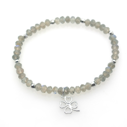 Labradorite & 925 Sterling Silver Clover Bracelet