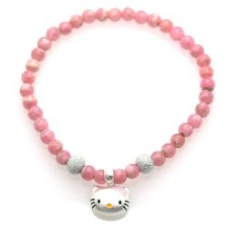 Rhodochrosite & 925 Sterling Silver Kitty Bracelet