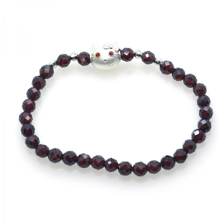 Garnet & 925 Sterling Silver Kitty Bracelet
