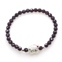 Garnet & 925 Sterling Silver Elephant Bracelet