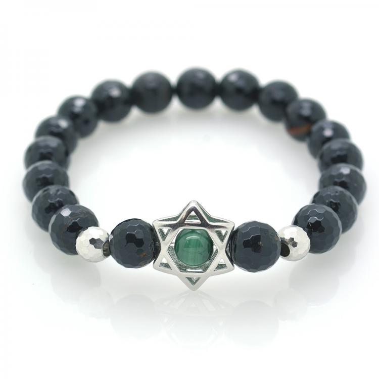 Tourmaline & Malachite & 925 Sterling Silver Star Bracelet