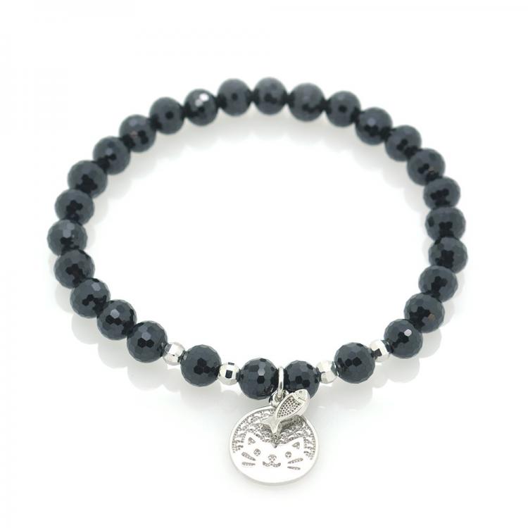Tourmaline & 925 Sterling Silver Cat & Fish Bracelet