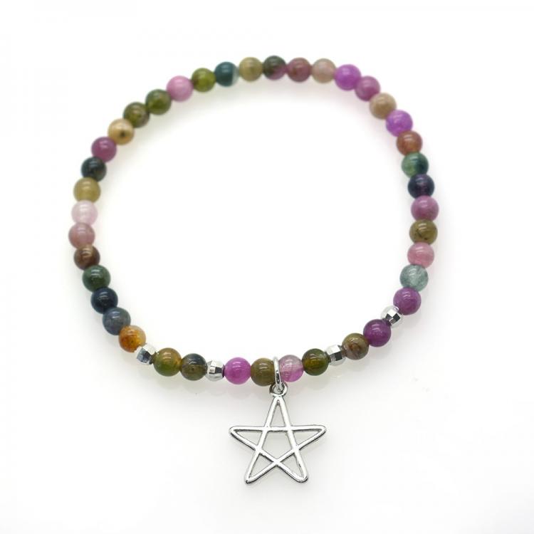 Tourmaline & 925 Sterling Silver Pentagram Bracelet