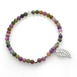 Tourmaline & 925 Sterling Silver Leaf Bracelet