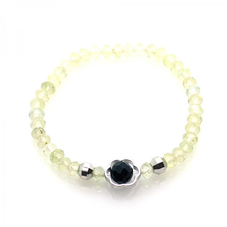 Prehnite & Spinel & 925 Sterling Silver Flower Bracelet