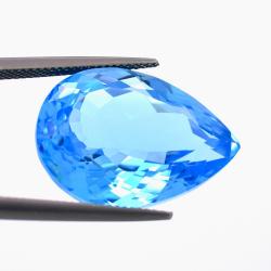 31,59 ct Swiss Blue Topaz Pear Cut