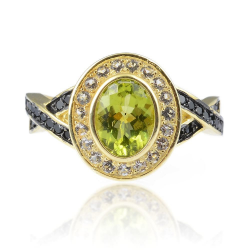 Peridot. Topaz, Spinel & 925 Sterling Silver Ring