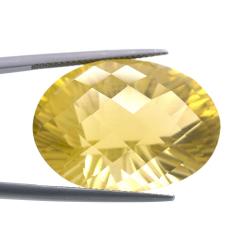 44.97ct Citrine Oval Concave Chessboard